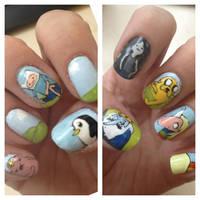 Adventure Time nails by MistyPixelFan