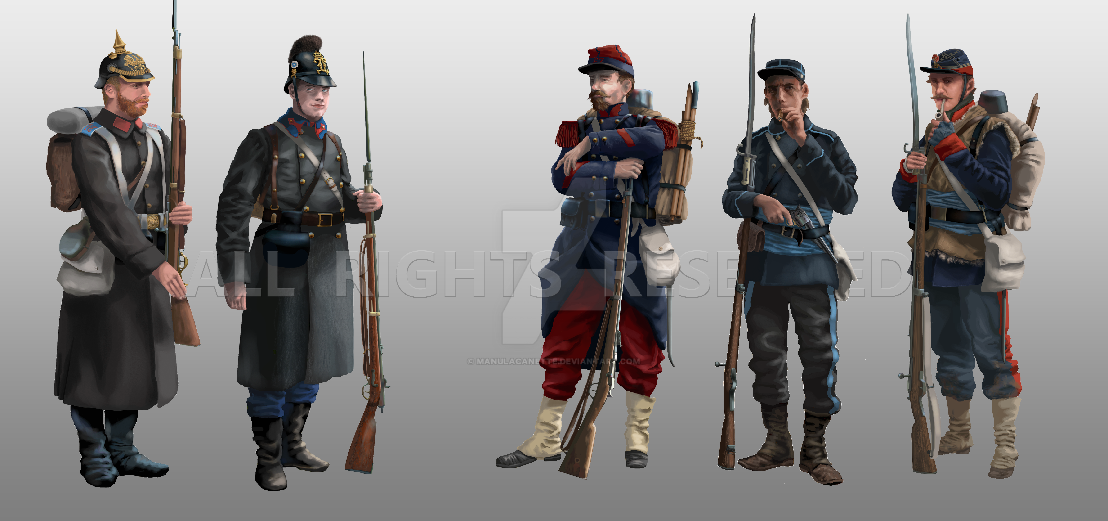 Infantry from the Franco-Prussian War (1870-1871) by ManuLaCanette