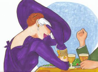Girl in Purple Hat-50 by KathleenHowell