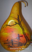 Halloween Scene Gourd by Black-Feather