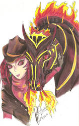 Mabinogi Aer and Fire Horse by Black-Feather