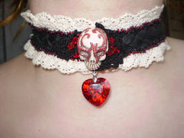 Blood Red Goth Skull Choker Leather and Lace by Black-Feather