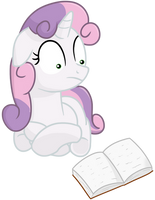 Sweetie Belle reads a very interesting story by transparentpony