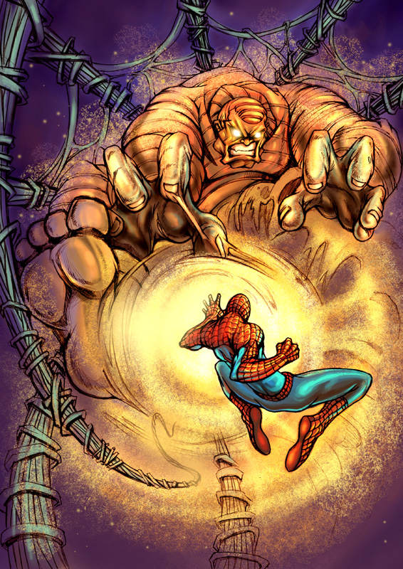 spiderman vs sandman color by CO523 on DeviantArt
