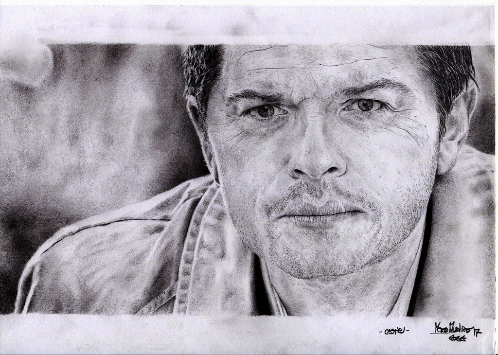 Castiel (Misha Collins) - Pencil Portrait by Cromoedge