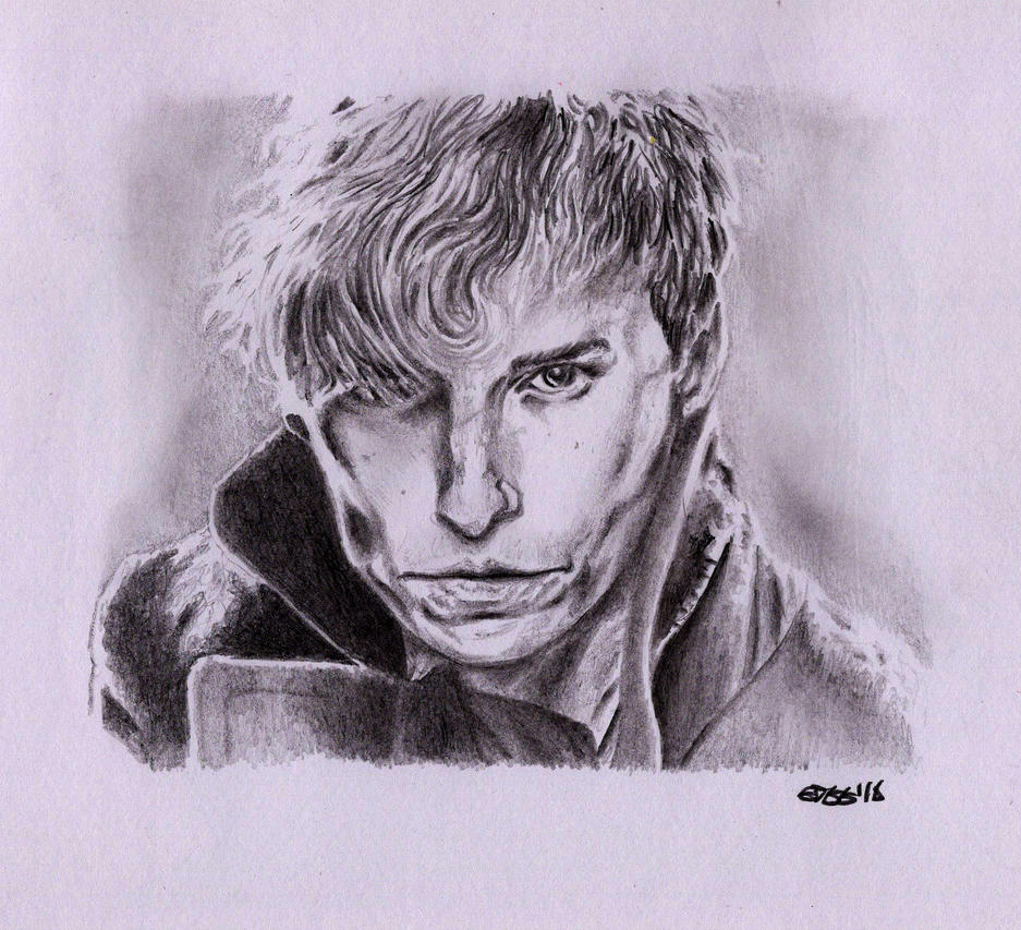 Newt Scamander (Eddie Redmayne) - Pencil Portrait by Cromoedge