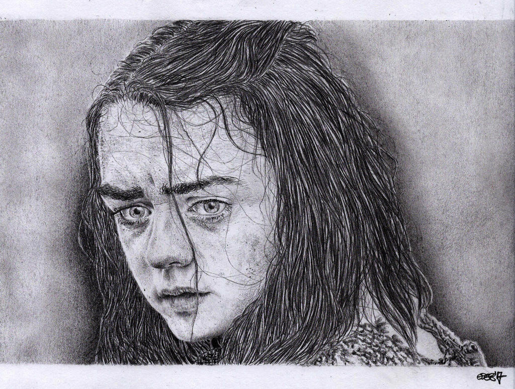 Arya Stark (Maisie Williams) - Pencil Portrait by Cromoedge