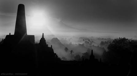 Borobudur Sunrise bw by the-arkz