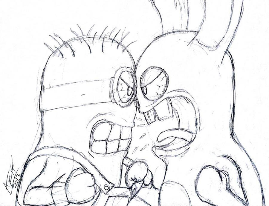 Minions vs Rabbids by Artman-eyt on DeviantArt Rabbids Coloring Pages
