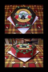 Guns and roses birthday cake