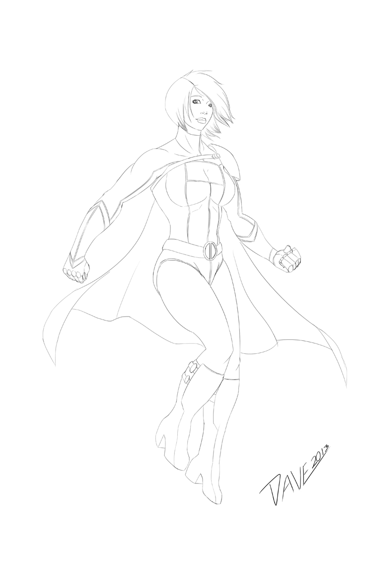 Power Girl (lines) by DStevensArt