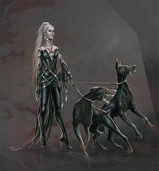 vampire with dogs by GhostNinth