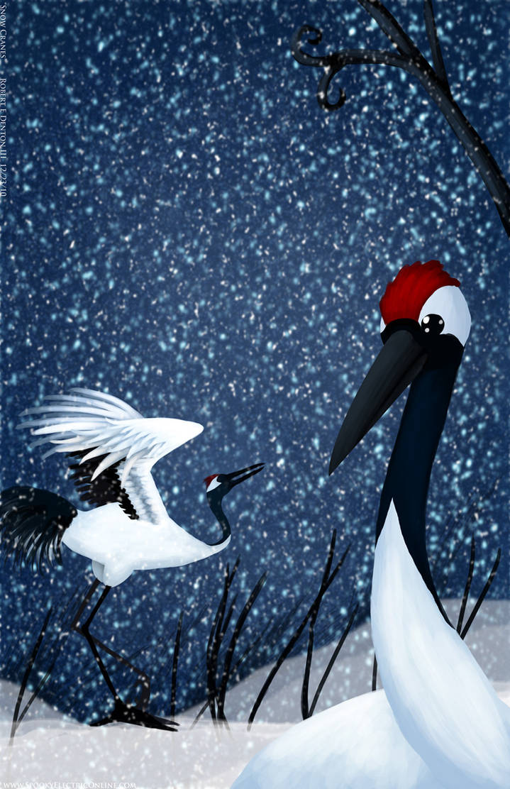 Snow Cranes by SP00KYELECTRIC
