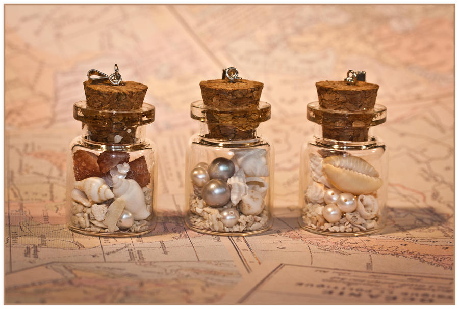 Beach-In-A-Bottle Pendants by Sarahorsomeone