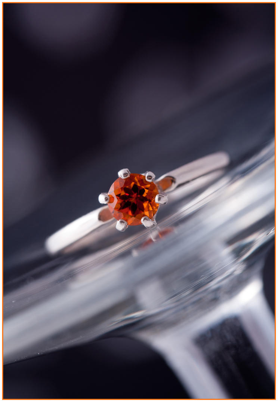 Orange Malaya Garnet Solitaire Ring by Sarahorsomeone