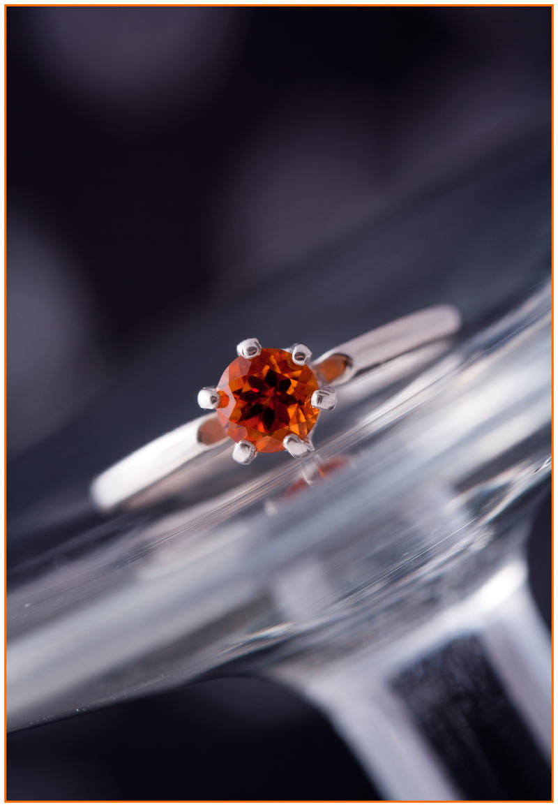 Orange Malaya Garnet Solitaire Ring by Sarahorsomeone