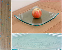 Blue Bubble Glass Platter by Sarahorsomeone