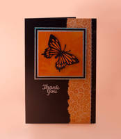 Orange and Black Butterfly Thank You Card by Sarahorsomeone