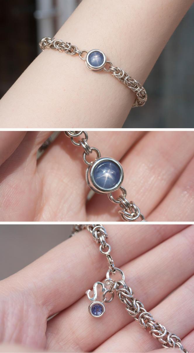 Blue Star Sapphire and Iolite Bracelet by Sarahorsomeone