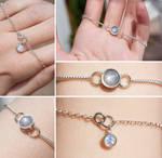 Grey-White Star Sapphire and Moonstone Bracelet