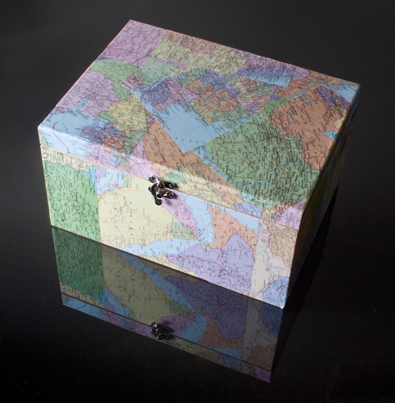 Map Decoupage Keepsake Box by Sarahorsomeone