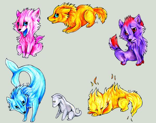chibi wolves by SpiritOfTheFire
