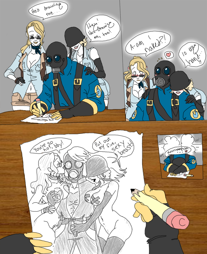 made this comic after playing Tf2  The 2 girls are my fan charactersTf2 Pyro Girl Skin