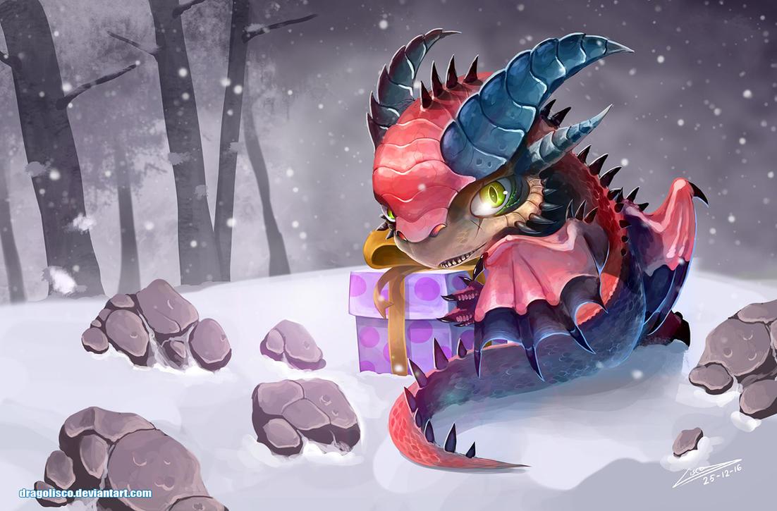 Christmas dragon by Dragolisco