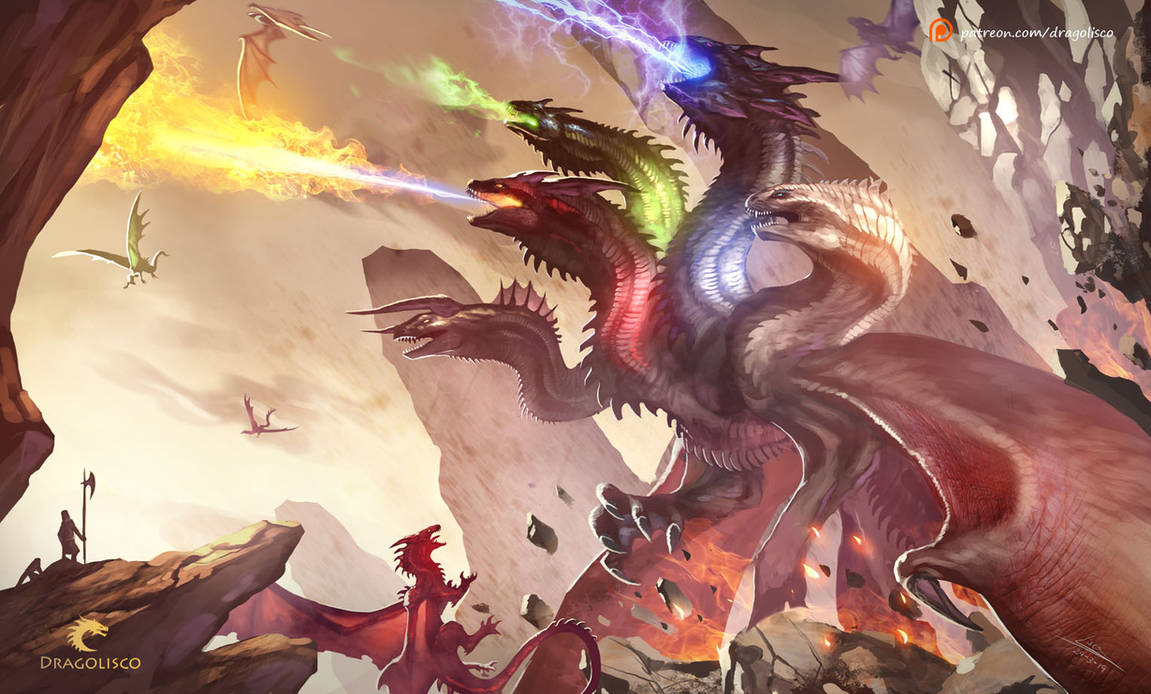 Evil Fire Dragon: Tiamat, The Goddess Of Evil Dragons (Commission) By