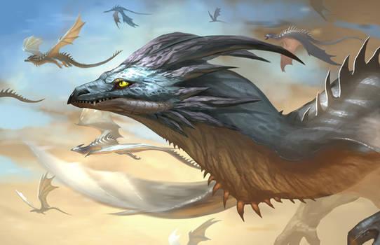 Silver wing dragon flight