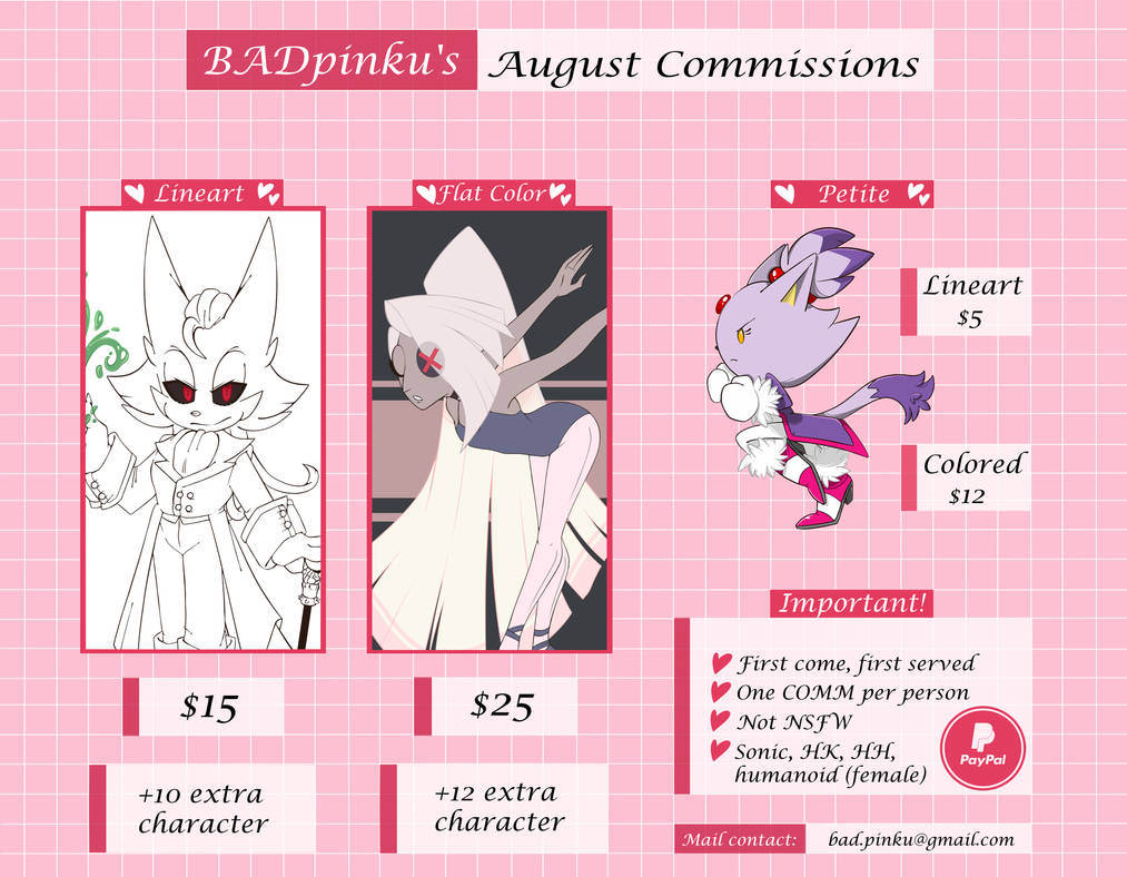 August Commissions Info -OPEN-