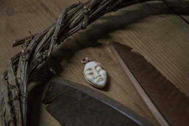 'Asian Moon' bone amulet by erzsebet-beast