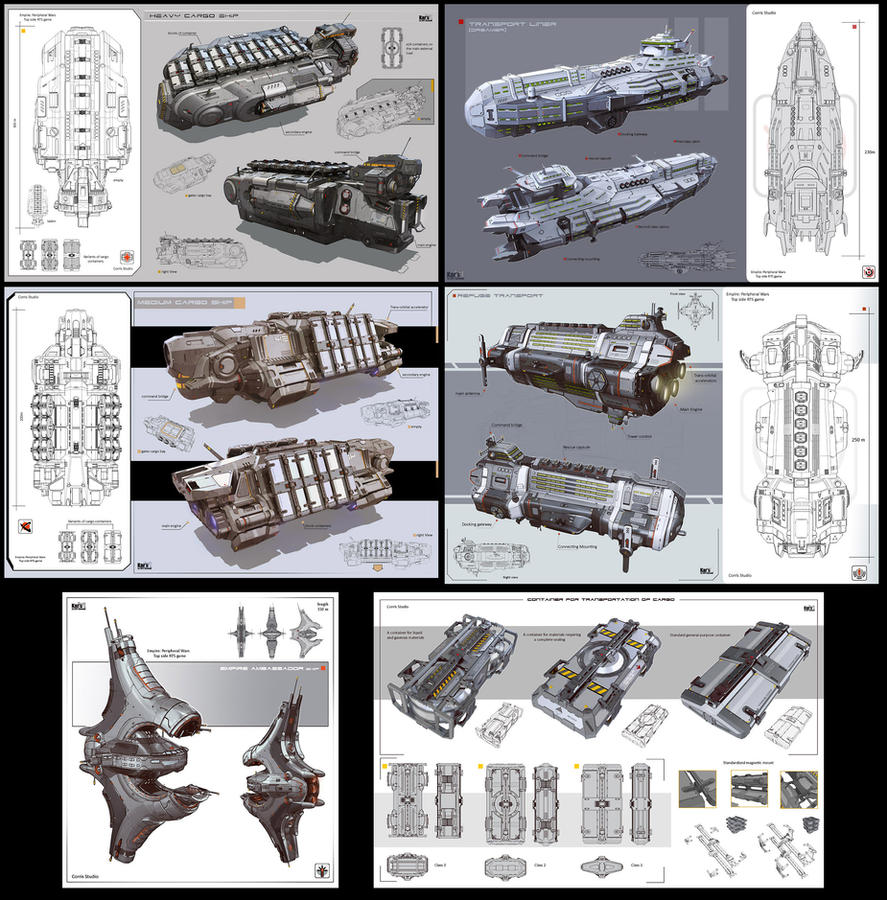 A series of civilian spaceship by KaranaK
