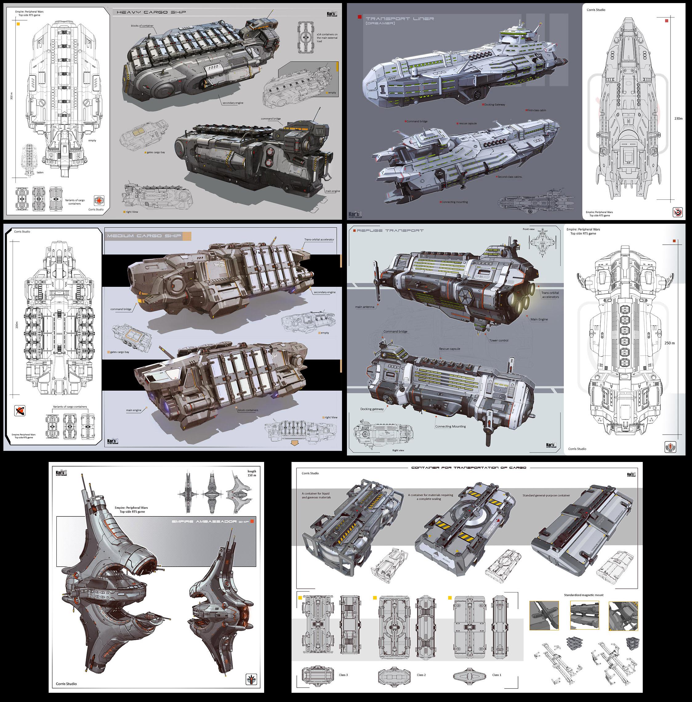 A series of civilian spaceship by KaranaK