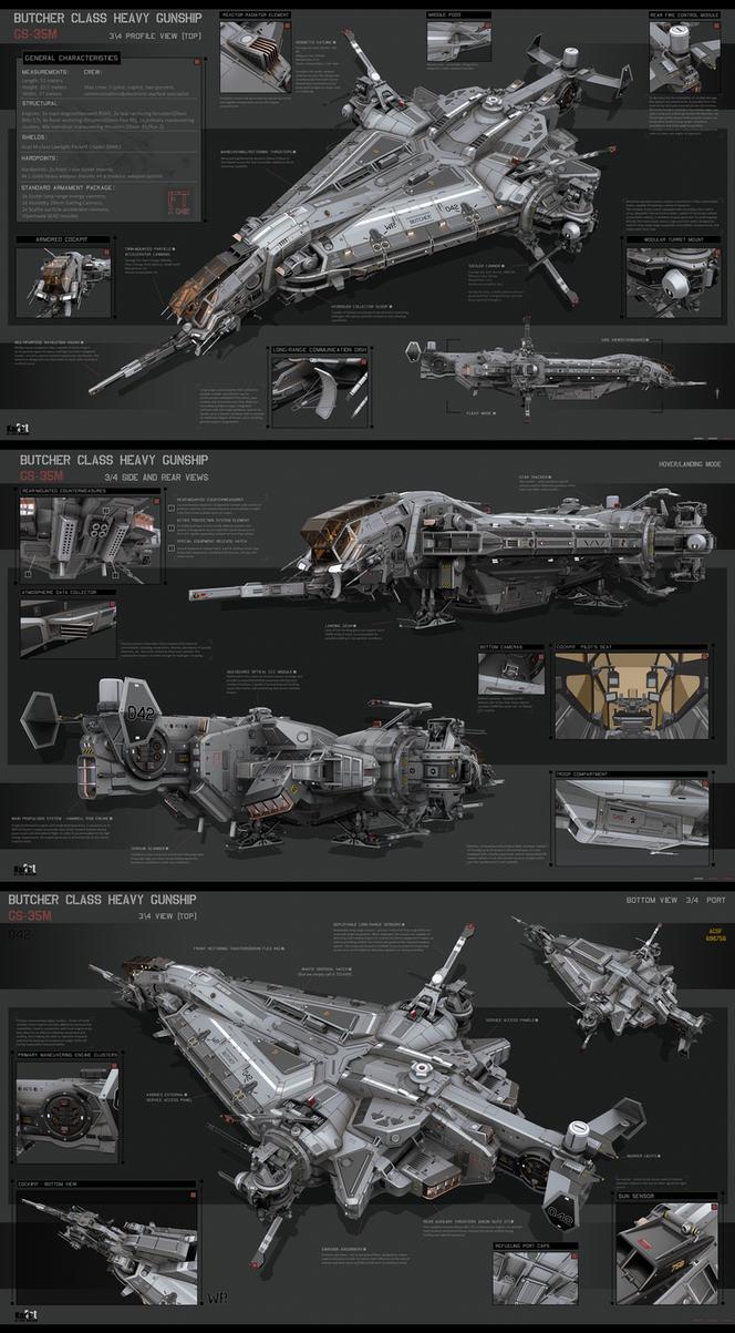 Butcher Class Heavy Gunship by KaranaK