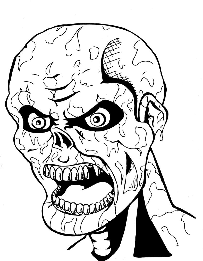 Pin zombie coloring pages to print halloween for kids on for Zombie coloring pages