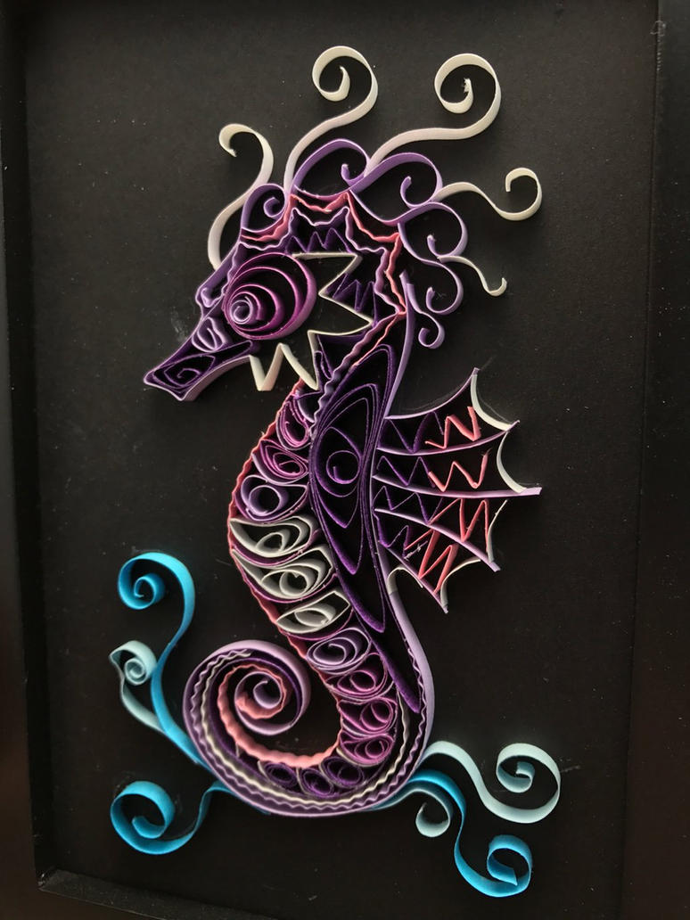 Purple Seahorse Paper Quilling  by Toriroz