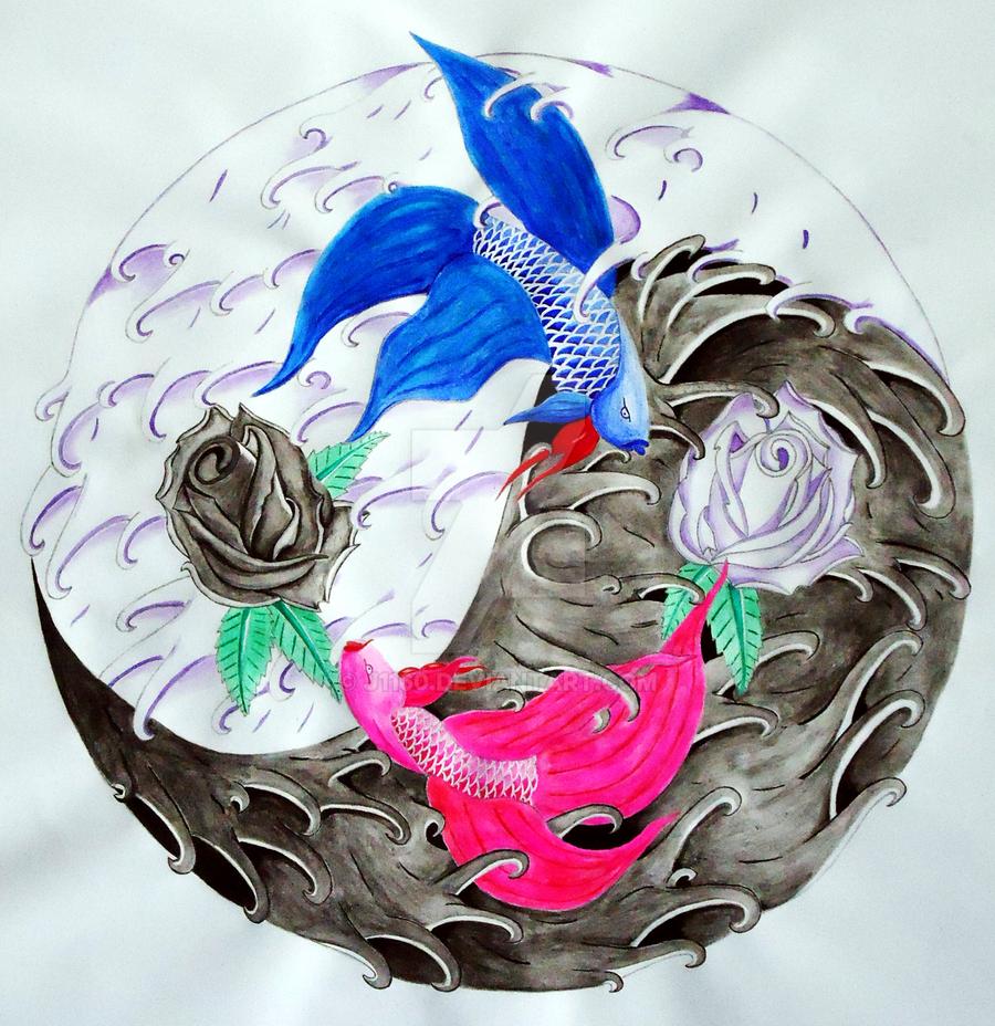 fighter fish yin yang waves by j1160 on deviantart. Black Bedroom Furniture Sets. Home Design Ideas