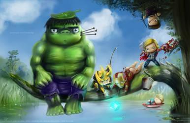 Avengers x Totoro Fan art by keikei11