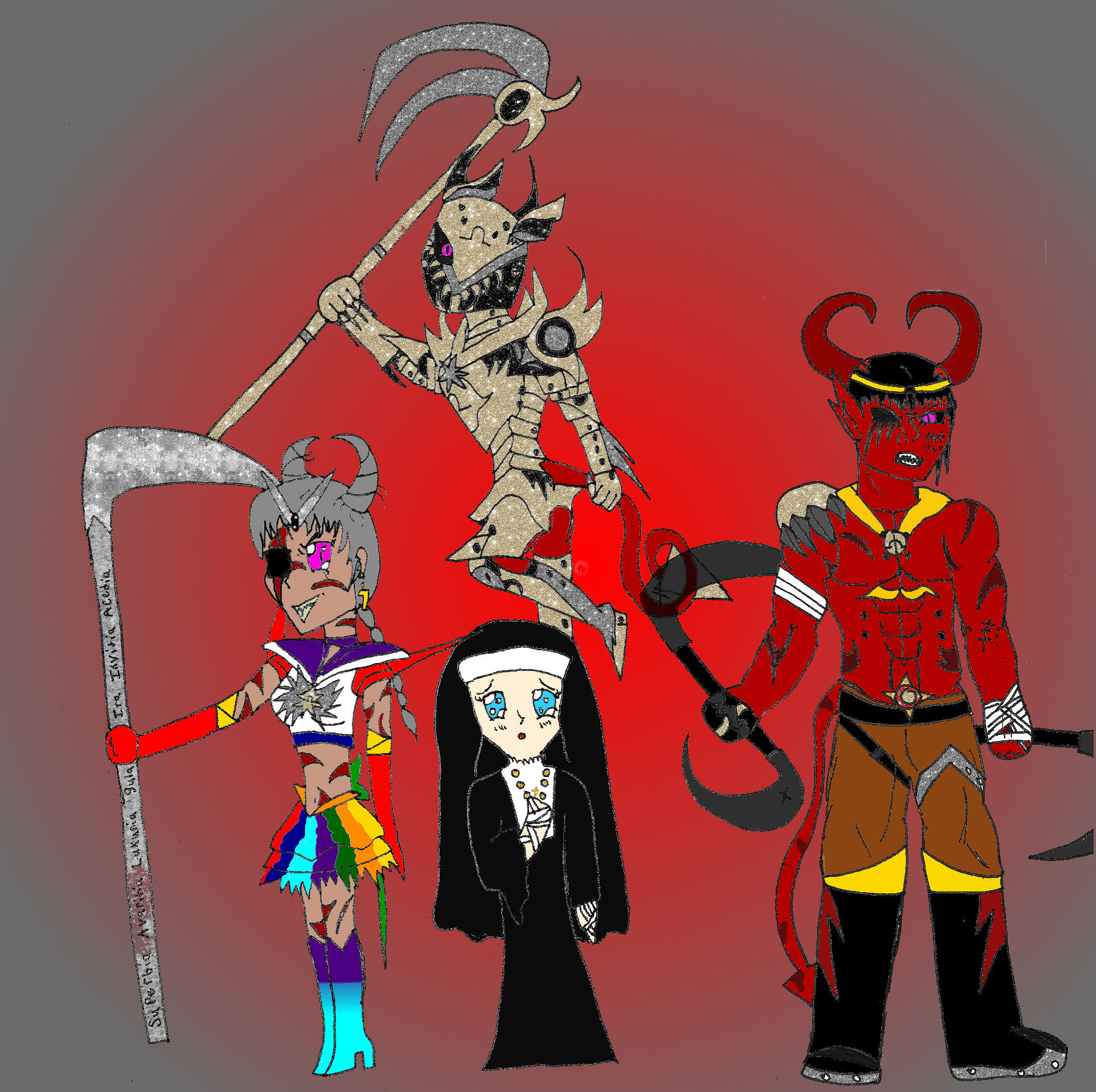 Sailor Omega Peccatrix, Jezebel (Nun), Baal (Demon), Sadistic Omega(Top)