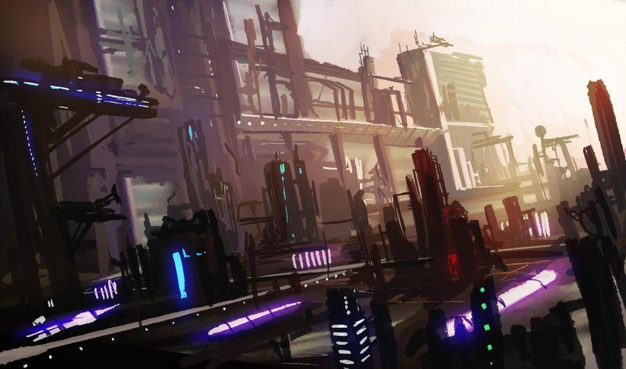 Sci-fi city speed by LJFHutch