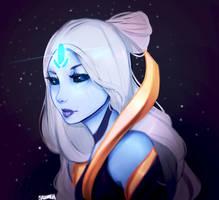 Cosmic Queen Ashe Skin Fan art by Sazumeh