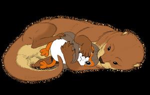 Ostlean Otter Hugging a Porg Plush by VixenDra