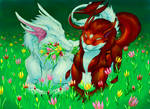 Tom and Anna among tulips BY skwerl56767
