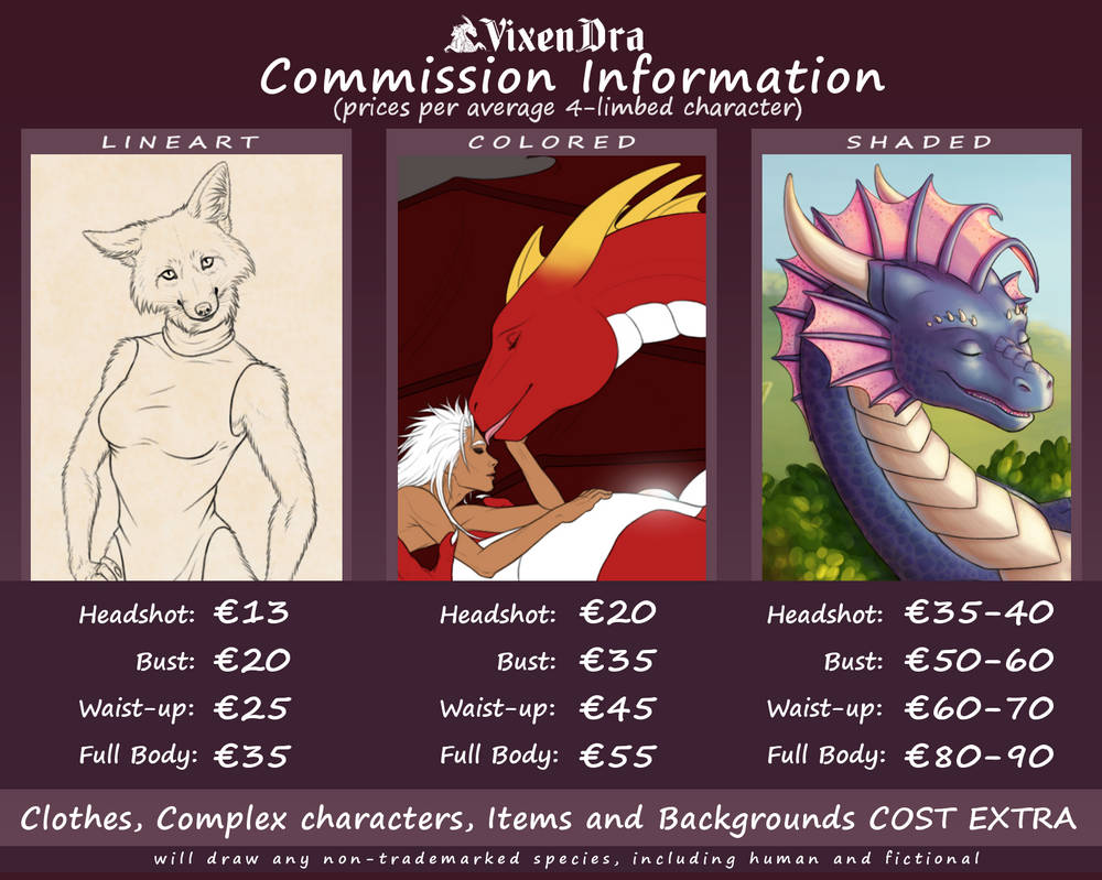 Commission Price Sheet (2021) - OPEN