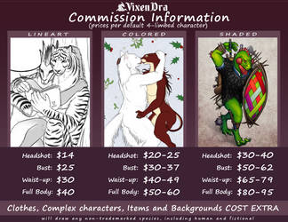 Commission Price Sheet (2020) by VixenDra