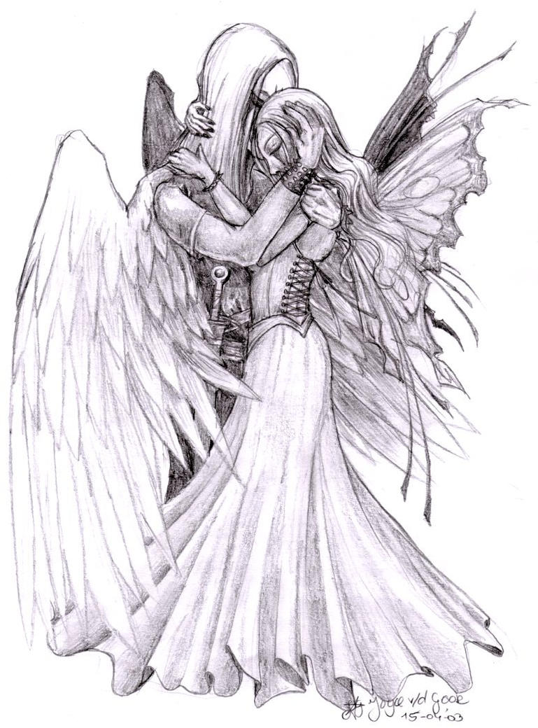 Male guardian angel drawing fairy and her guardian angel