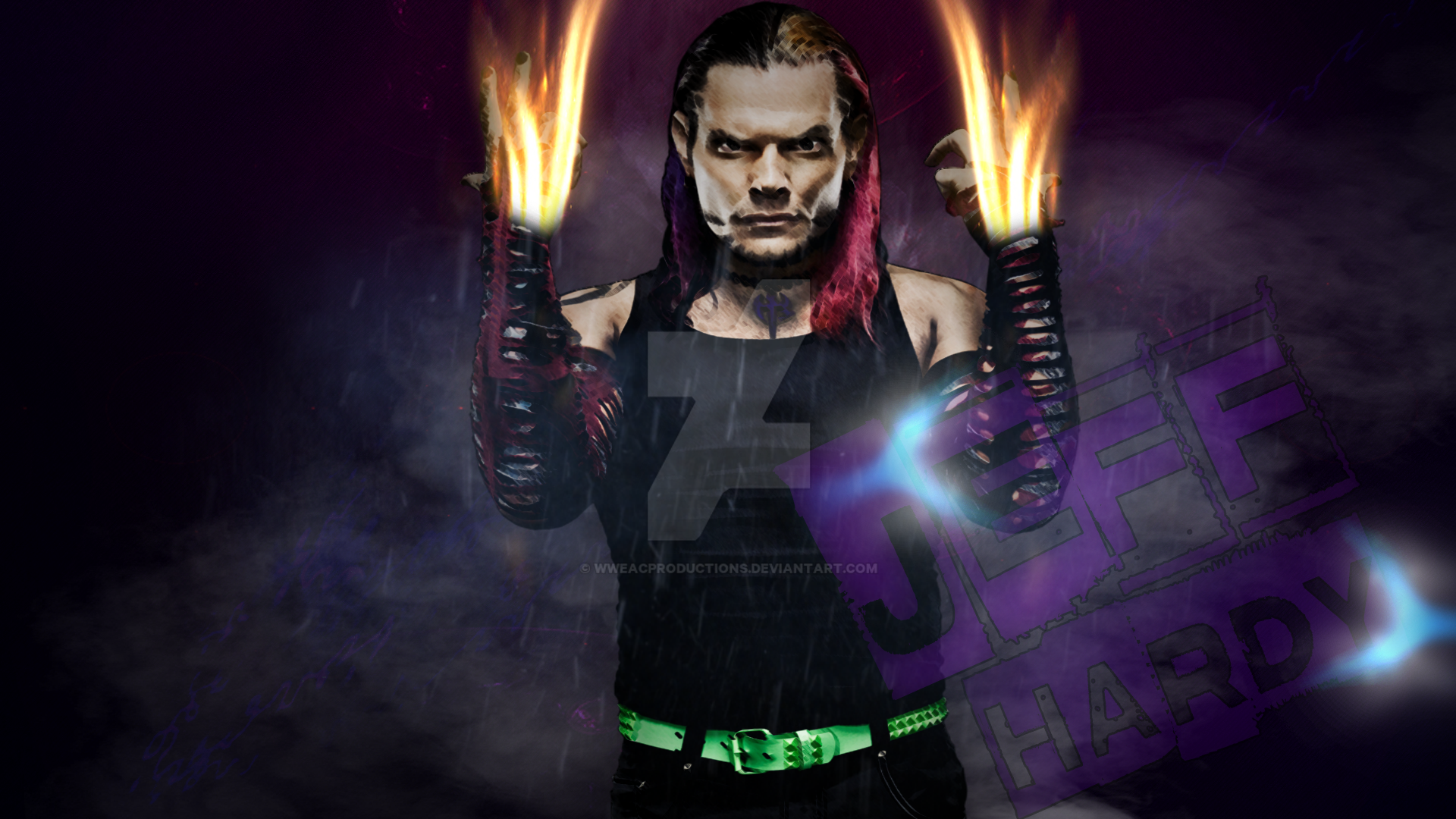 wwe custom jeff hardy wallpaper 2016wweacproductions on deviantart