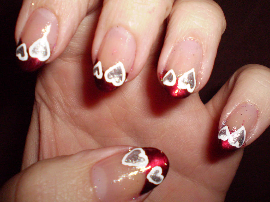 Valentine\'s day French tips by shadowcat-666 on DeviantArt