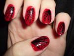 black and red spiderweb nail design